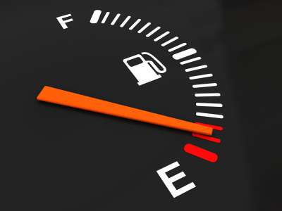 3d illustration of generic fuel meter over dark background